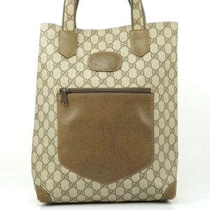 Auth Gucci Gg Sherry Tote Bag Beige #2122G96